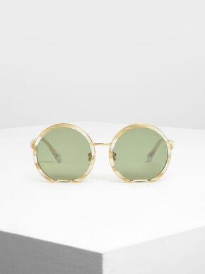 Cut Off Frame Round Sunglasses, Cream