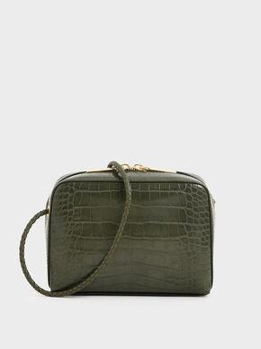 Croc-Effect Mini Rectangular Crossbody Bag, Olive, hi-res