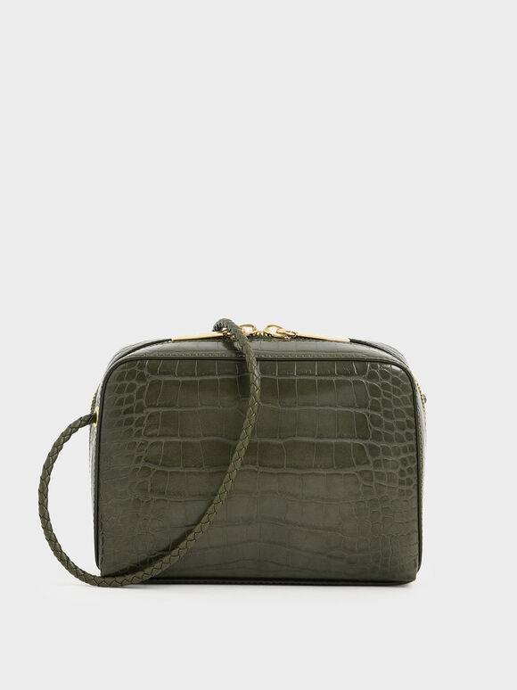 Croc-Effect Mini Rectangular Crossbody Bag, Olive, hi-res