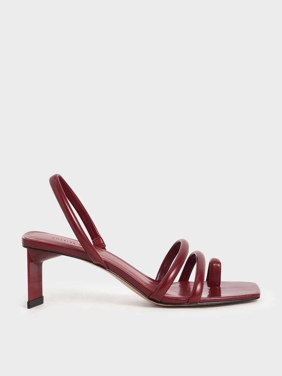 Toe Loop Strappy Slingback Heels, Red, hi-res