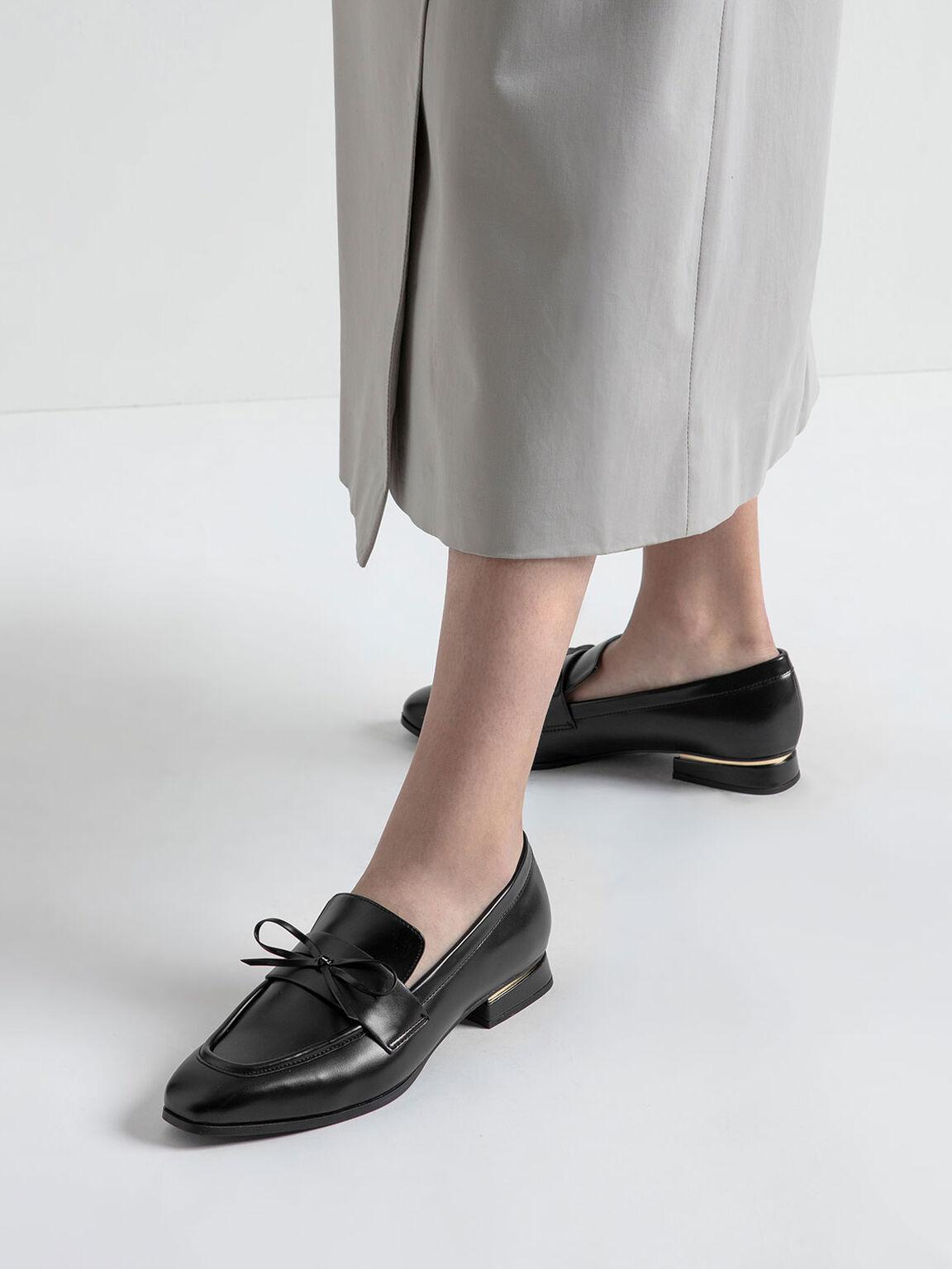 Bow Detail Loafers, Black, hi-res