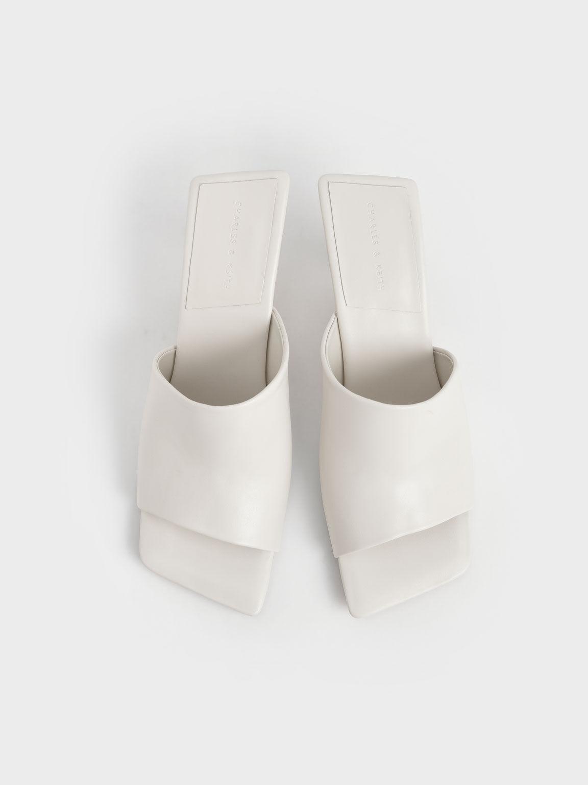Asymmetric Square Toe Mules, Chalk, hi-res