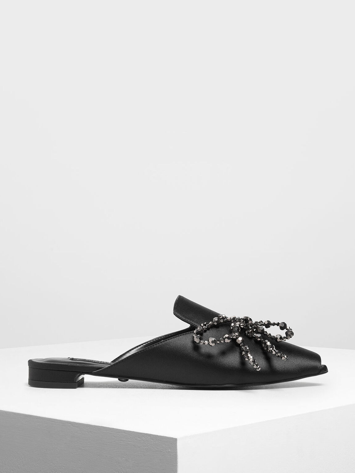 Beaded Bow Satin Mules, Black, hi-res