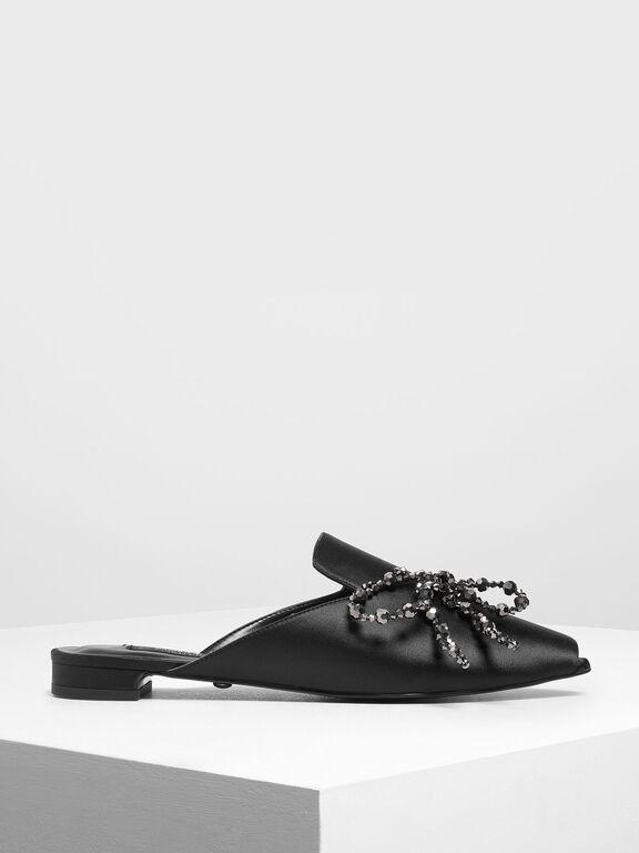 Beaded Bow Satin Mules, Black