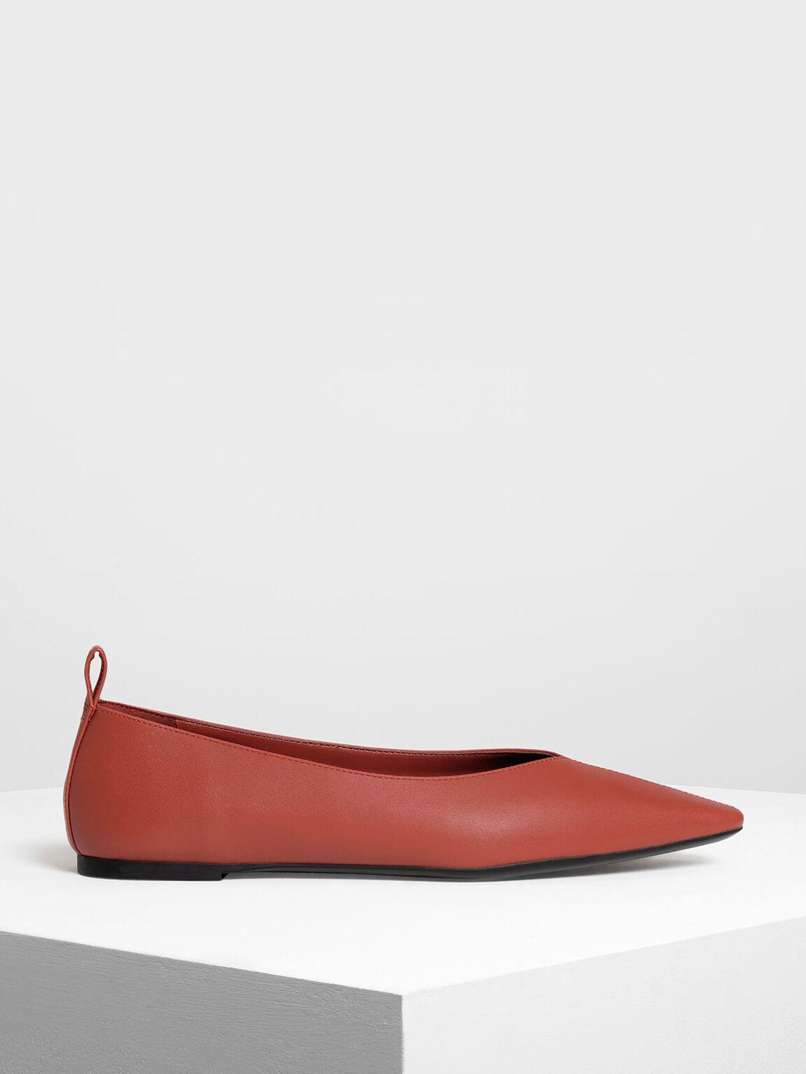 Pointed Toe Flats, Orange, hi-res