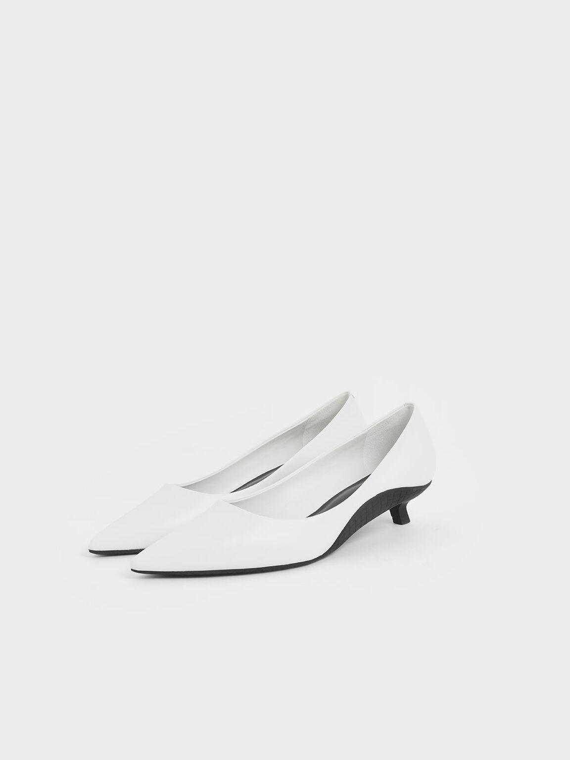 Two-Tone Kitten Heel Pumps, White, hi-res