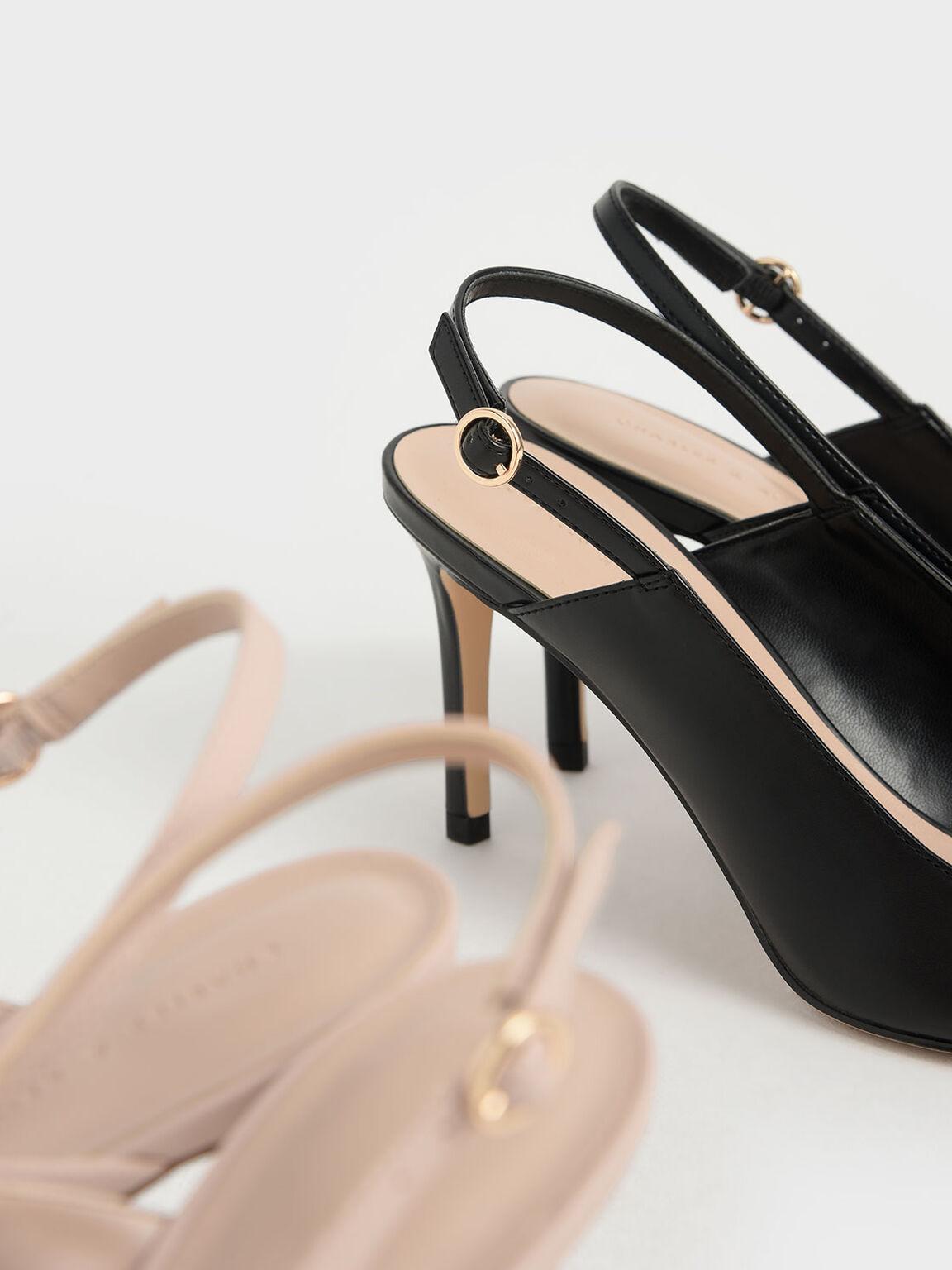 簡約尖頭高跟鞋, 黑色, hi-res