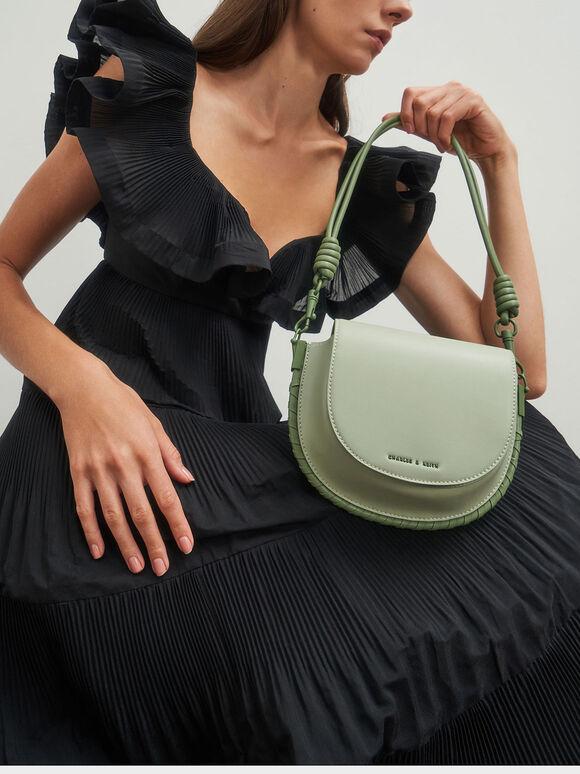 Stitch Trim Saddle Bag, Sage Green, hi-res