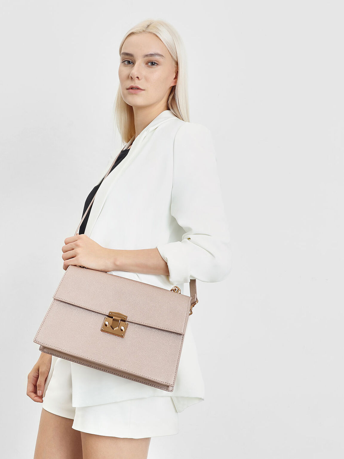 Chain Handle Shoulder Bag, Rose Gold, hi-res