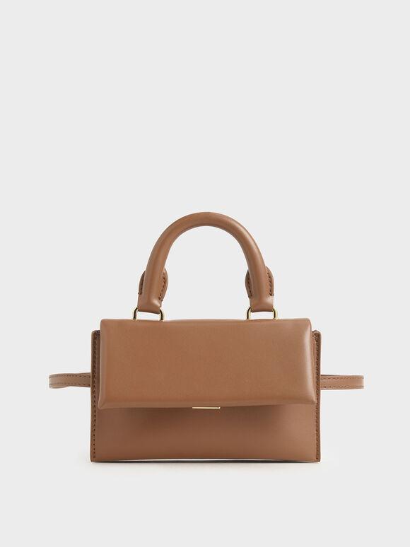 Rectangular Belt Bag, Brown, hi-res