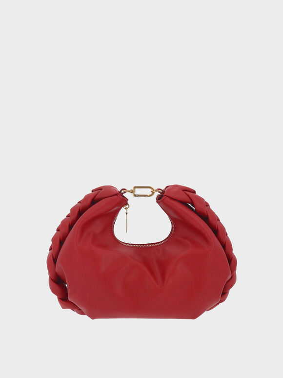 Chain Handle Braided Hobo Bag, Red, hi-res
