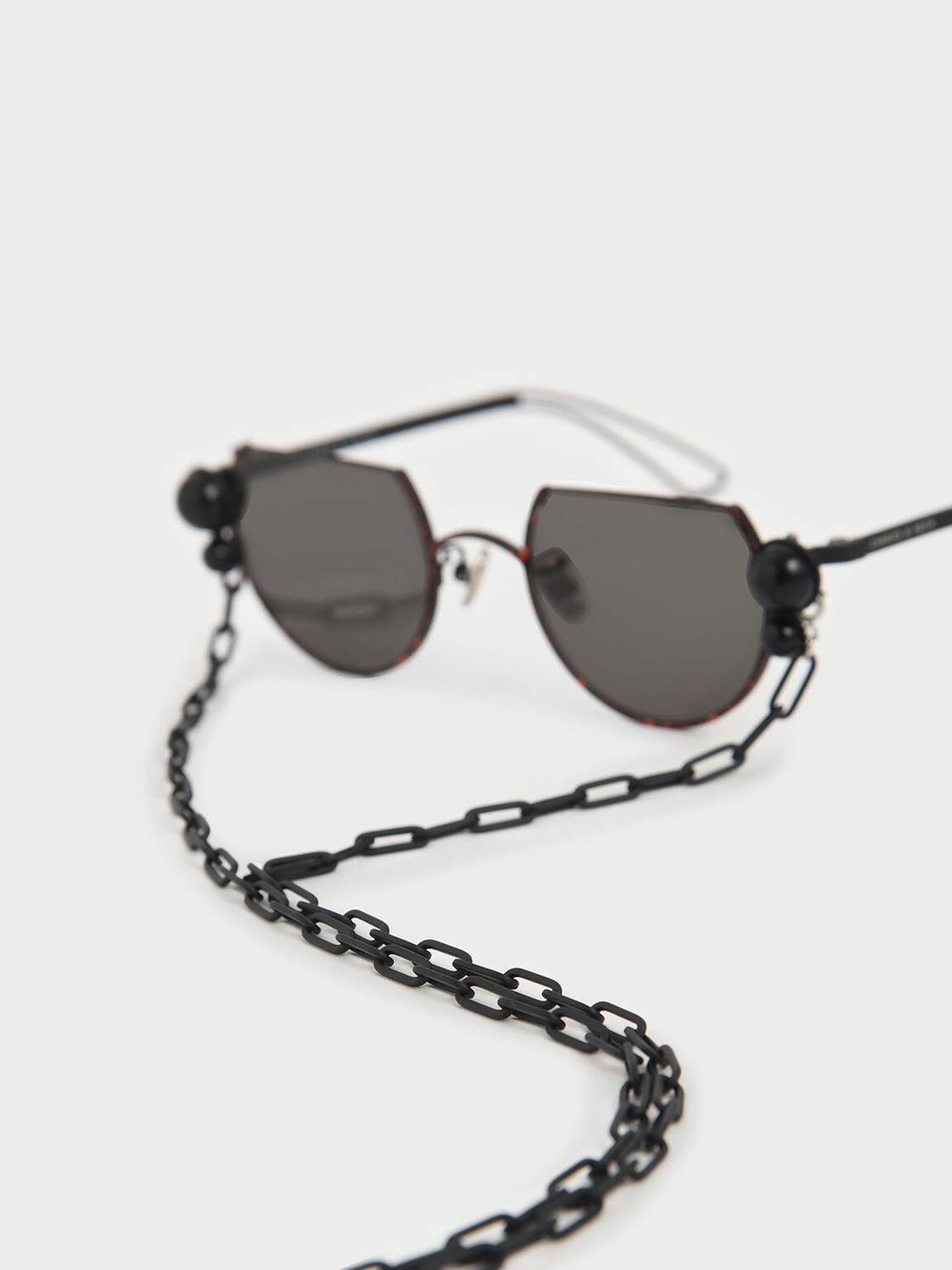 Black Marble Stone Chain Link Round Cut-Off Sunglasses, T. Shell, hi-res