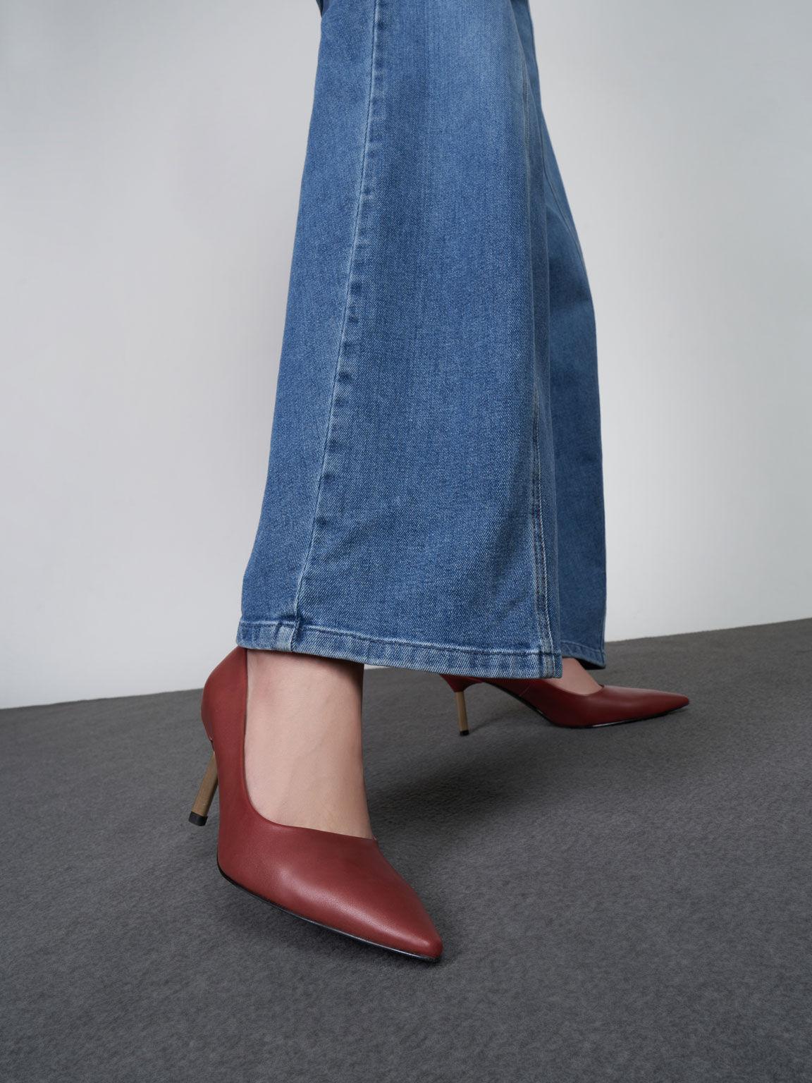 Metallic Stiletto Heel Pumps, Red, hi-res