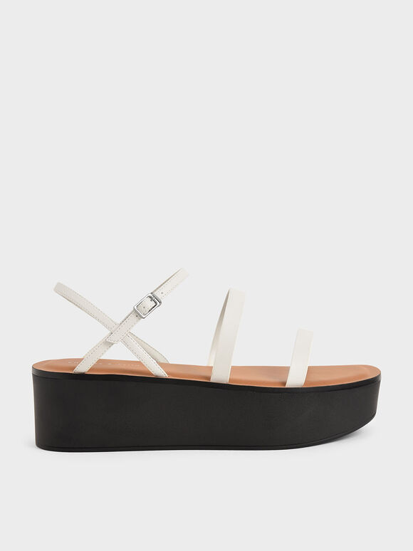Strappy Flatform Sandals, Chalk, hi-res