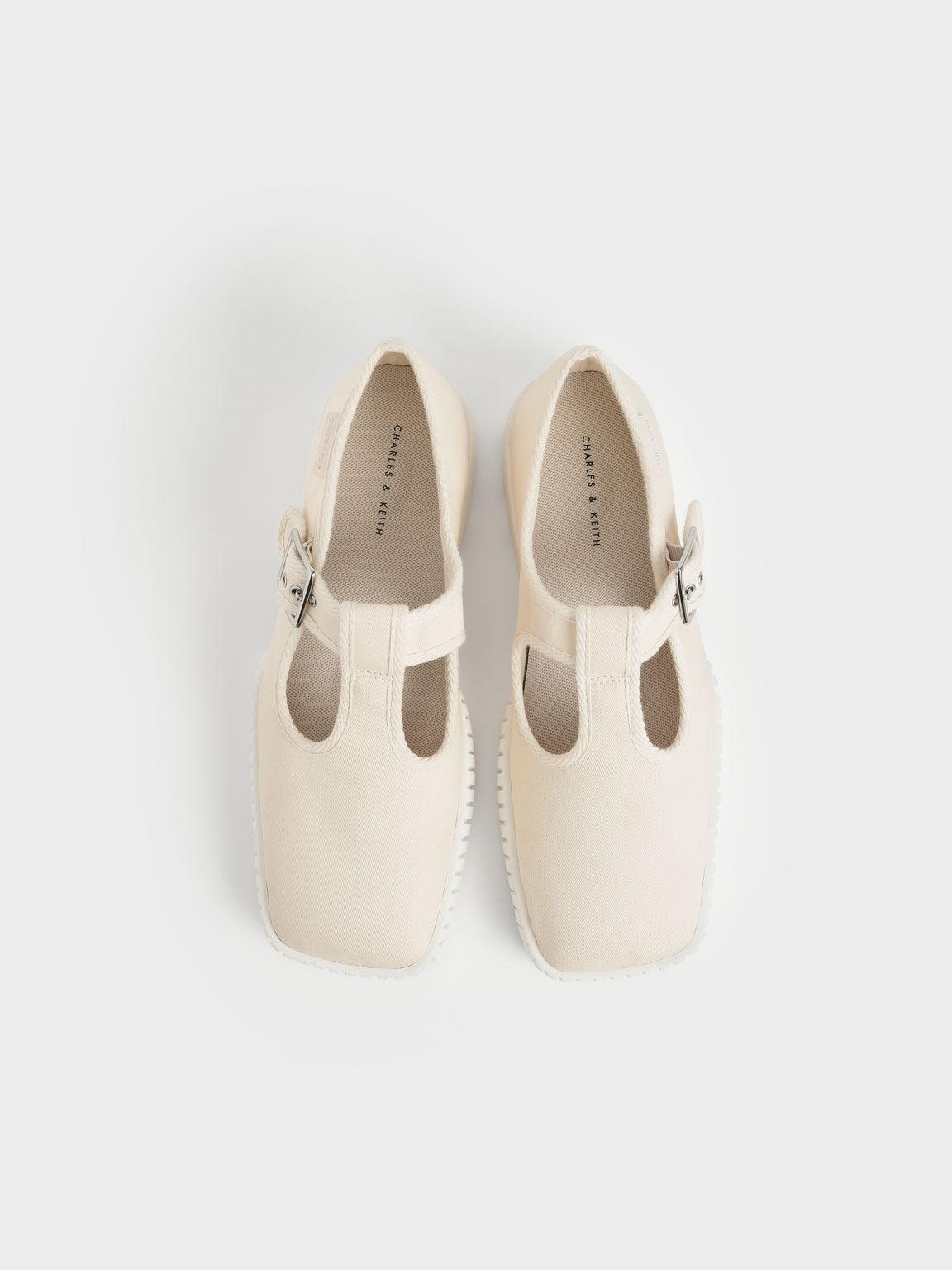 Cotton Buckled Sneakers, Cream, hi-res
