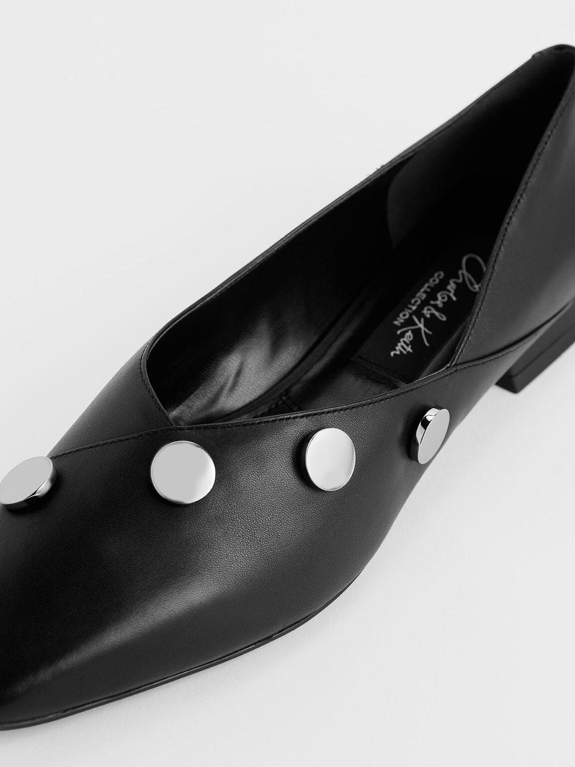 Chrome Button Detail Leather Flats, Black, hi-res