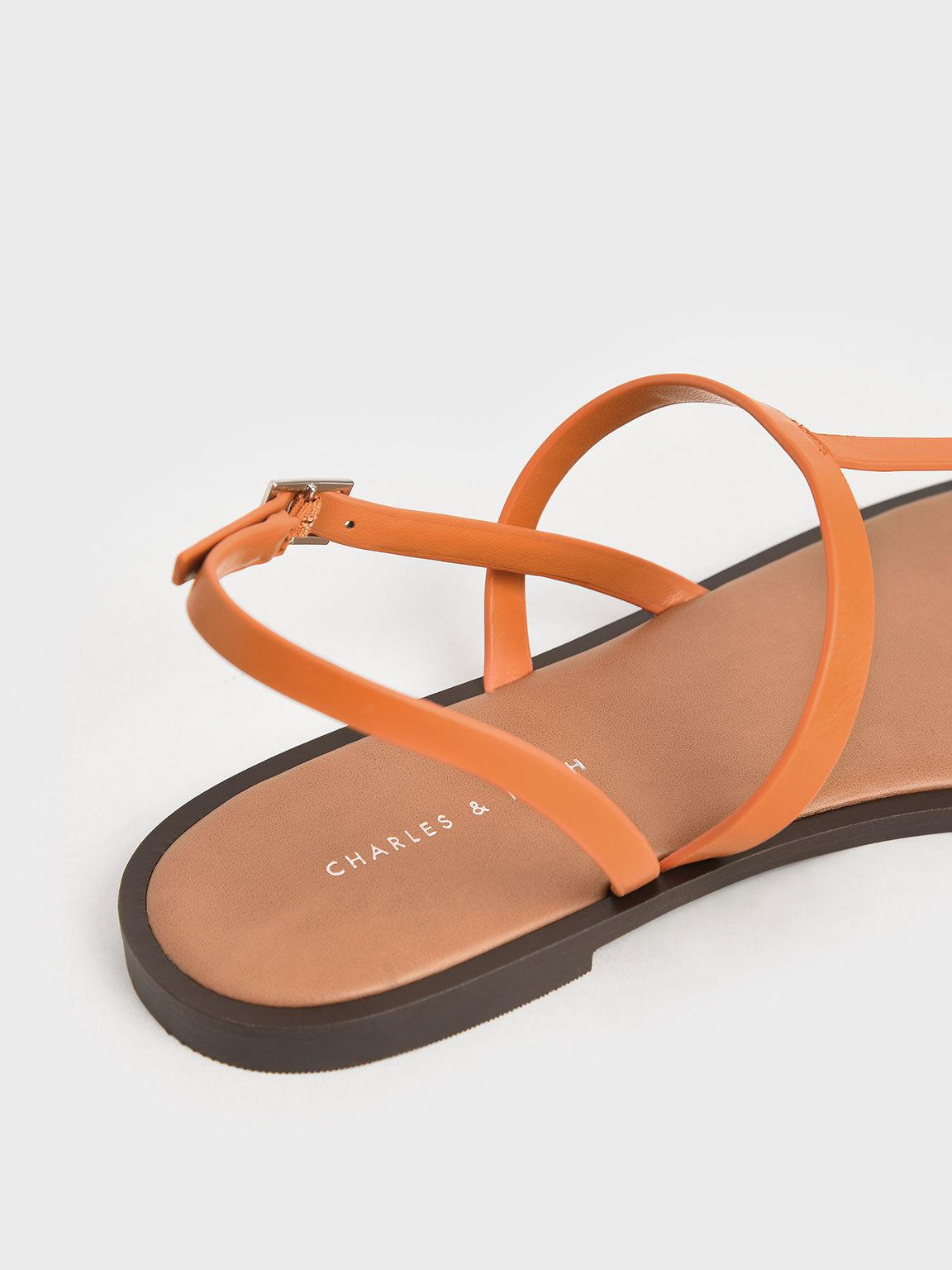 T-Bar Slingback Sandals, Orange, hi-res