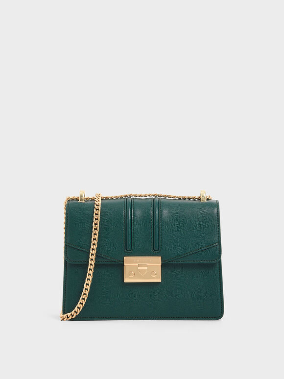 Chain Strap Shoulder Bag, Dark Green, hi-res