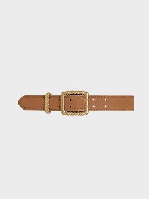 Textured Buckle Belt, Tan