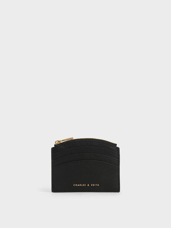 멀티-슬롯 지퍼 카드 홀더, Black, hi-res