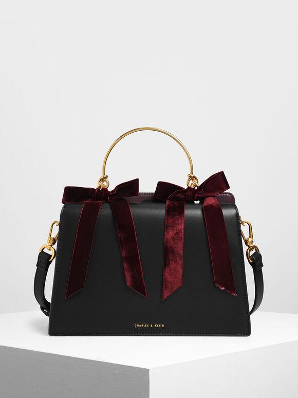 Velvet Bow Detail Top Handle Bag, Black, hi-res