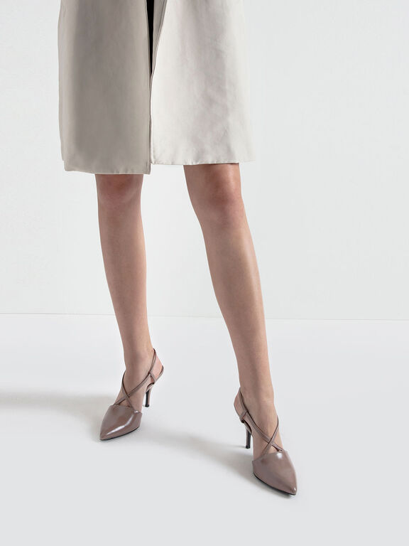 Criss Cross Strappy Pointed Toe Heels, Taupe