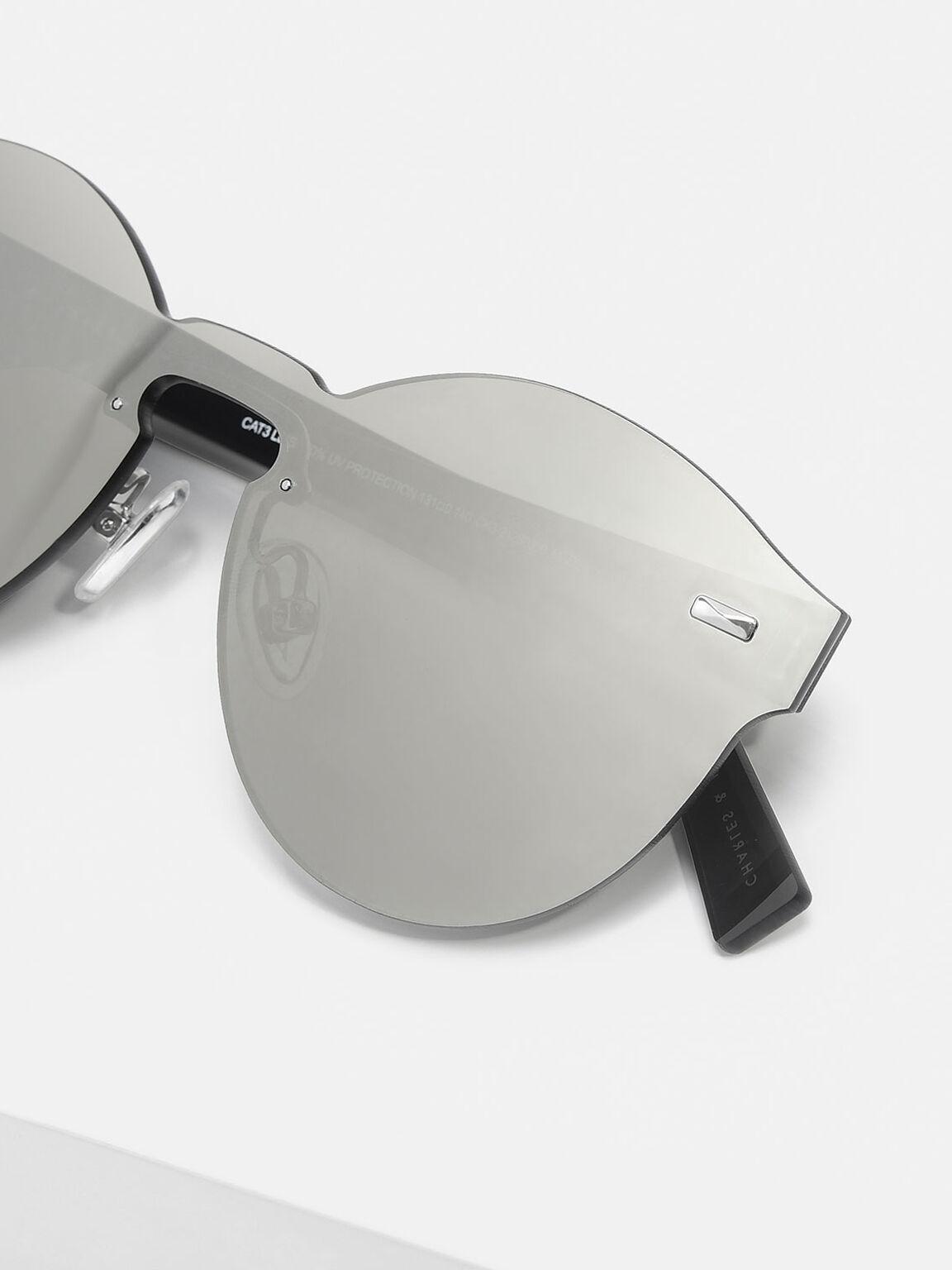 Oval Sunglasses, Silver, hi-res