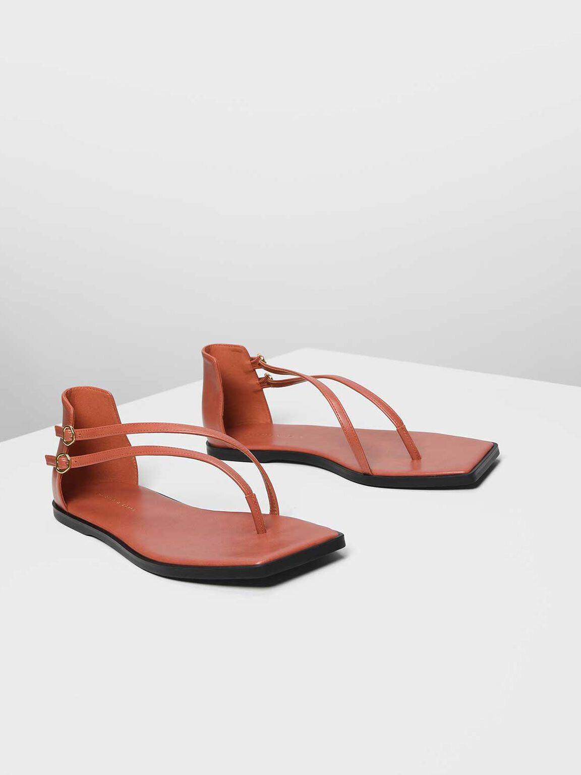 夾腳平底涼鞋, 橘色, hi-res
