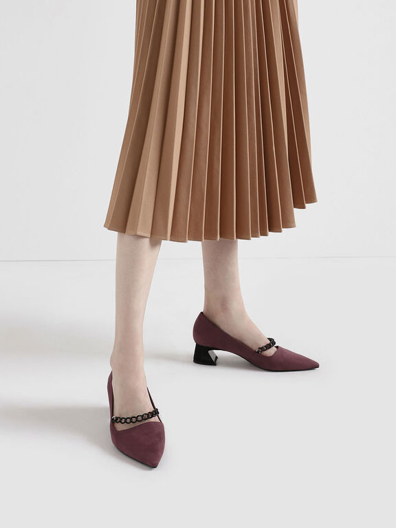 Chain Strap Curved Block Heel Mary Jane Pumps, Mauve, hi-res