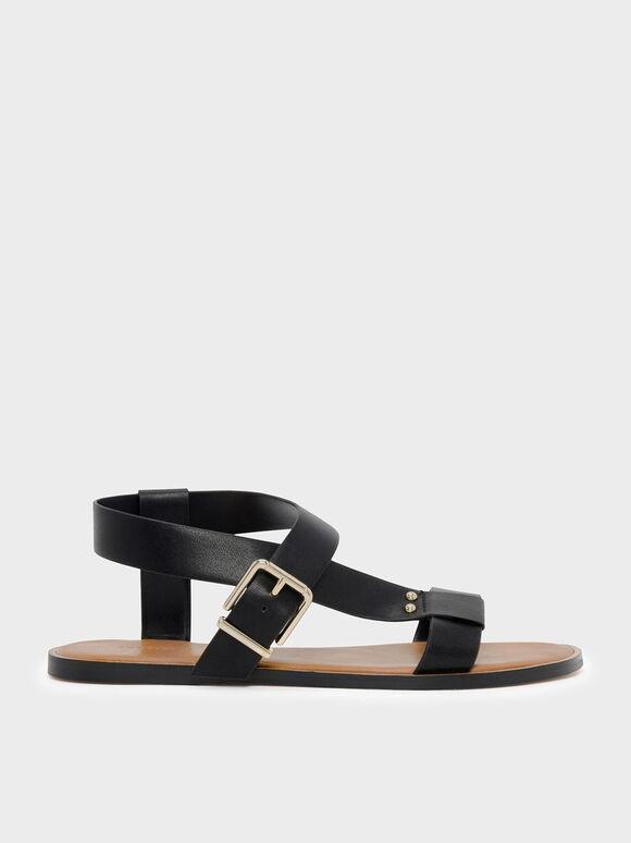 Thick Strap Sandals, Black, hi-res