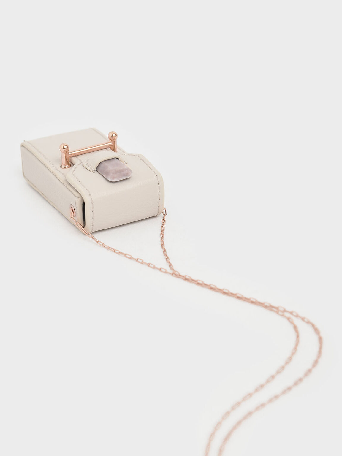 Rose Quartz Stone Opera Necklace Bag, Cream, hi-res