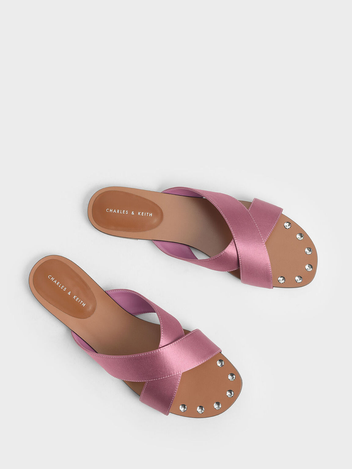 Satin Embellished-Sole Slide Sandals, Pink, hi-res