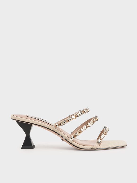Canvas Gem-Embellished Mules, Beige, hi-res