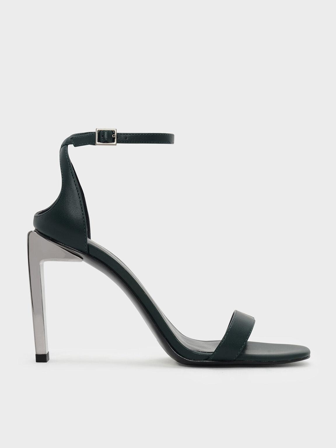 Blade Heel Sandals, Green, hi-res