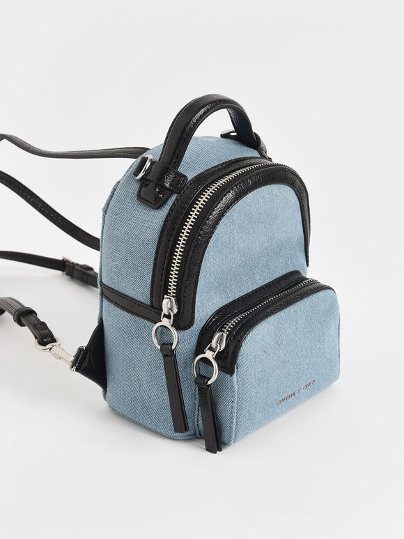Mini Denim Double Zip Backpack, Denim Blue, hi-res