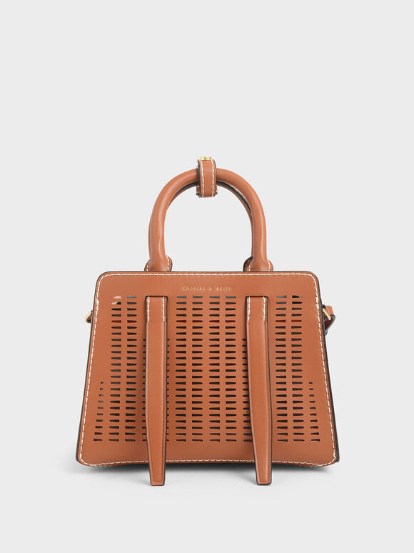 Laser-Cut Top Handle Bag, Cognac, hi-res