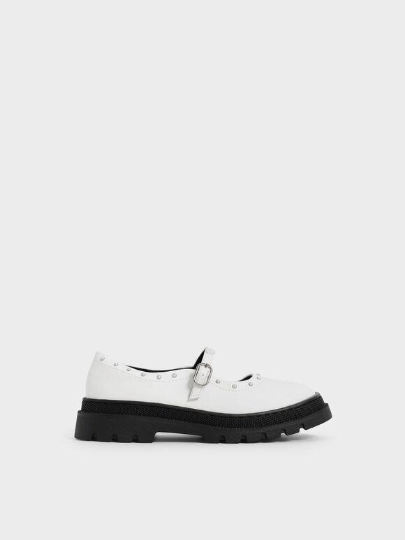 兒童橡膠厚底瑪莉珍鞋, 白色, hi-res