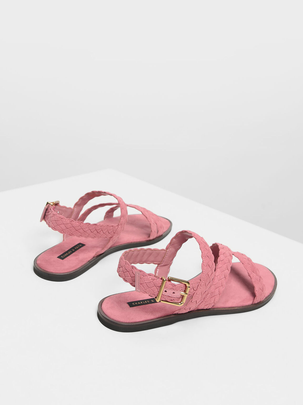 Braided Asymmetrical Sandals, Pink, hi-res