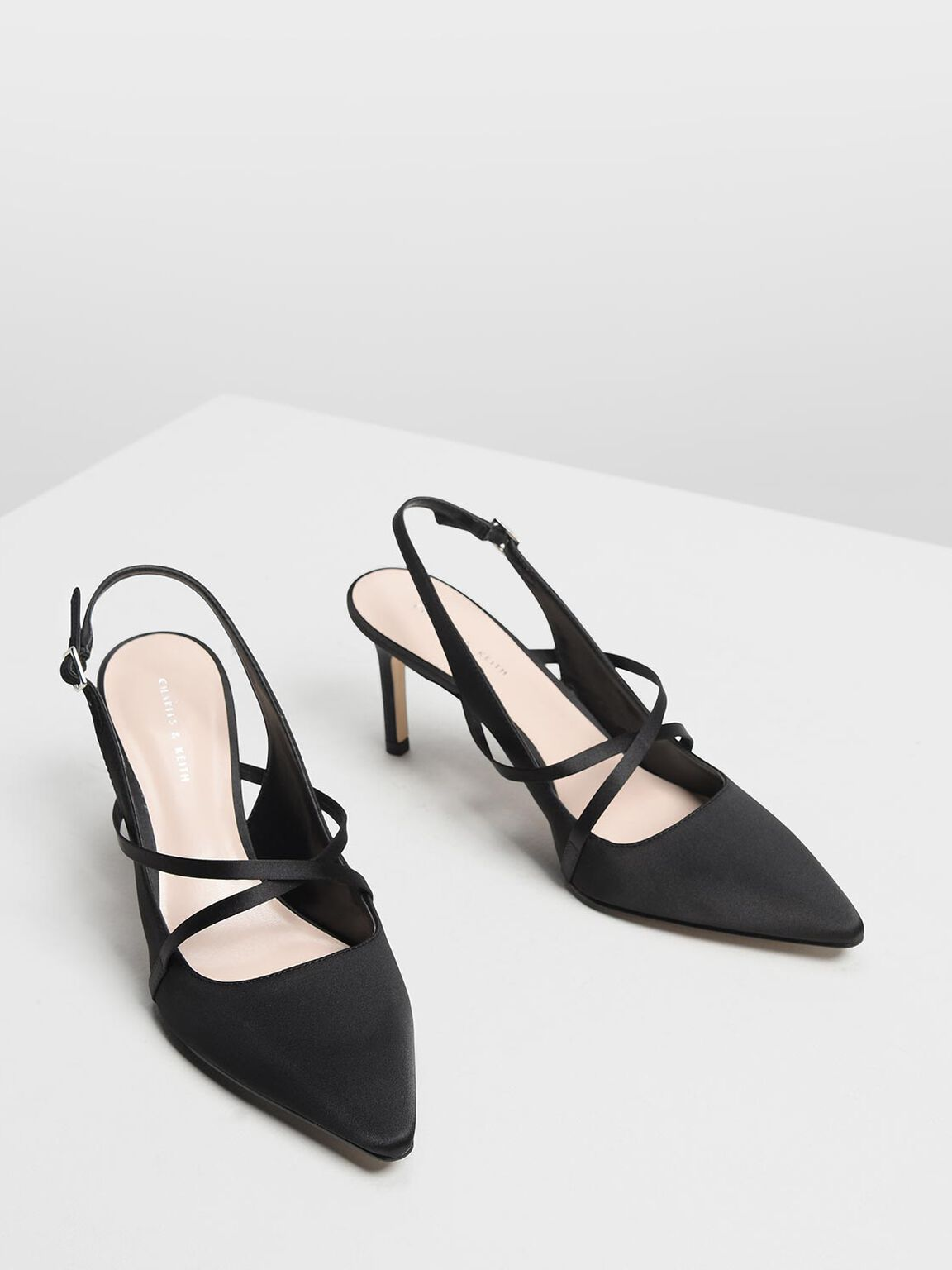 交叉緞帶跟鞋, 黑色, hi-res