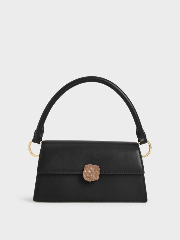Leather Top Handle Bag, Black, hi-res