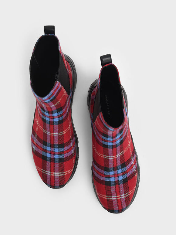 Check Print Chunky Sole Chelsea Boots, Red, hi-res
