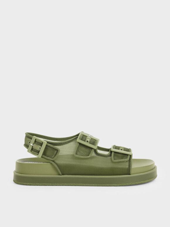 Mesh Flatform Sandals, Military Green, hi-res