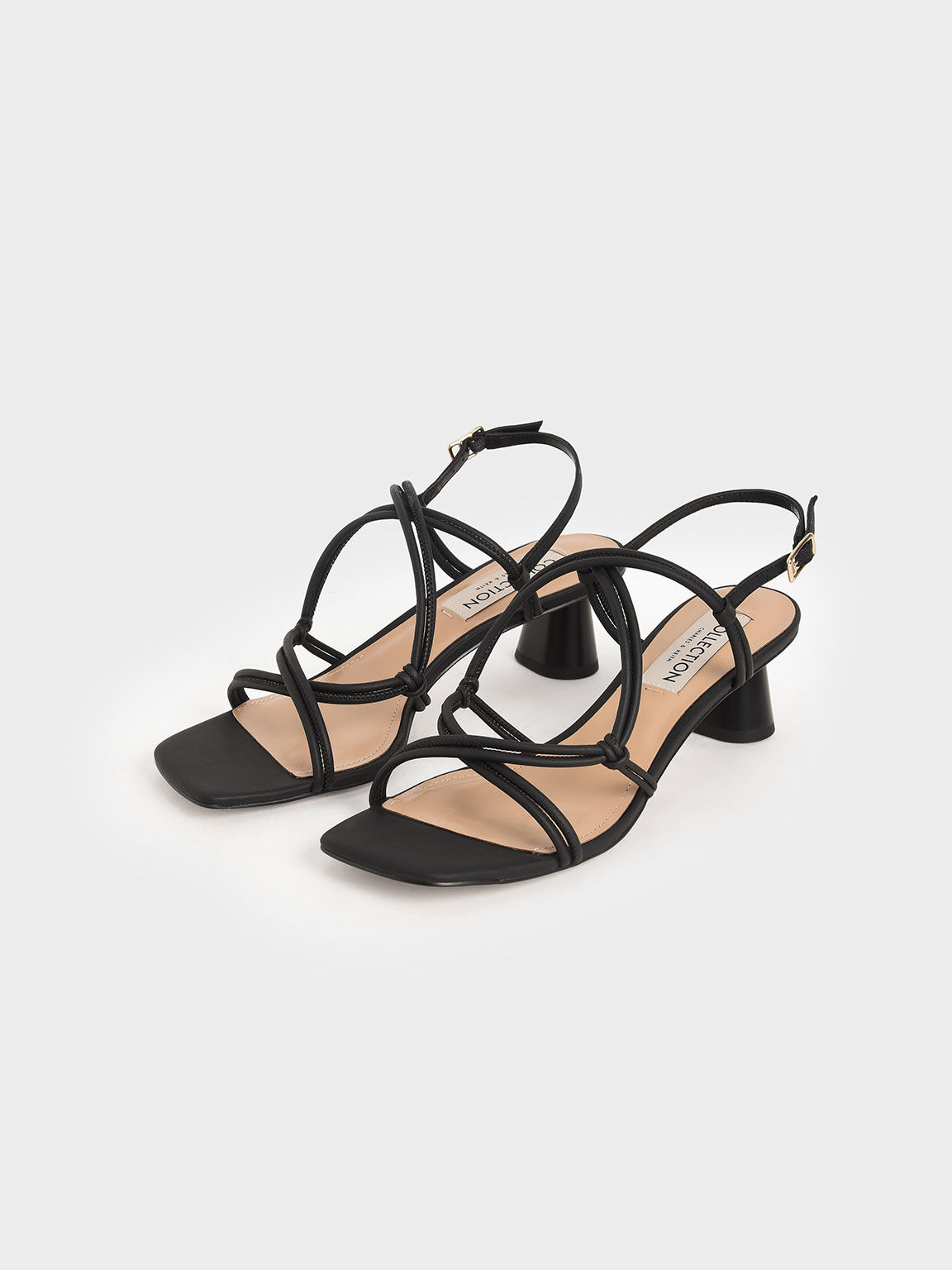 Leather Strappy Knotted Sandals, Black, hi-res
