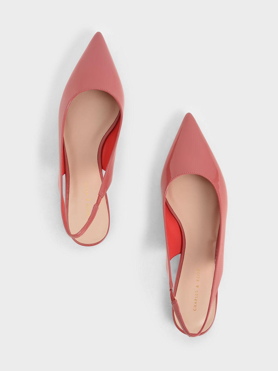Patent Slingback Flats, Coral Pink, hi-res