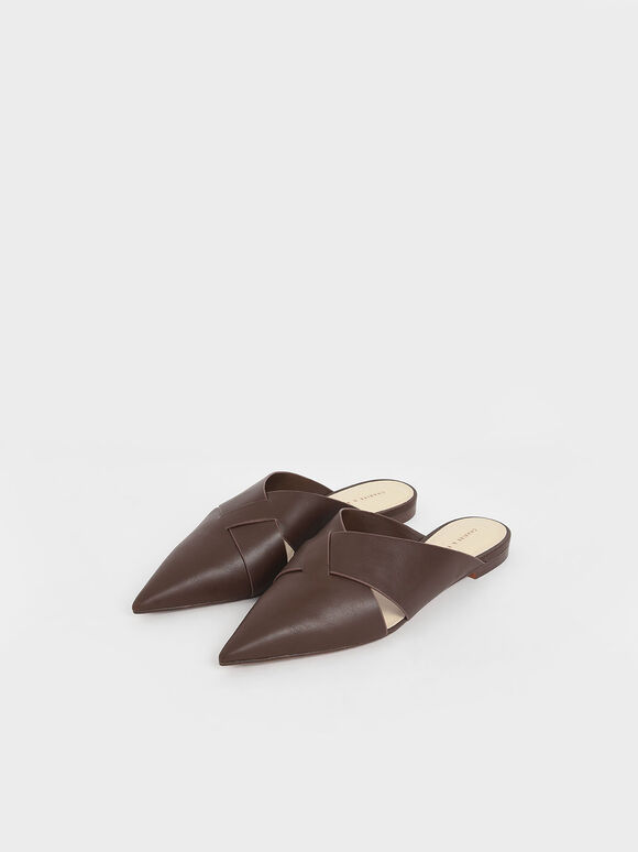 Woven Pointed Toe Mules, Dark Brown, hi-res