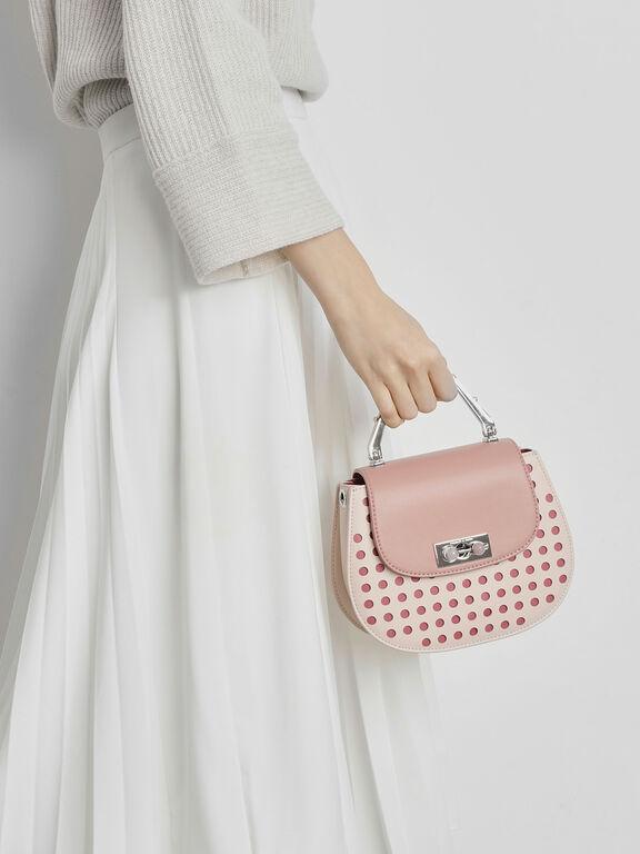 Metal Top Handle Bag, Light Pink, hi-res