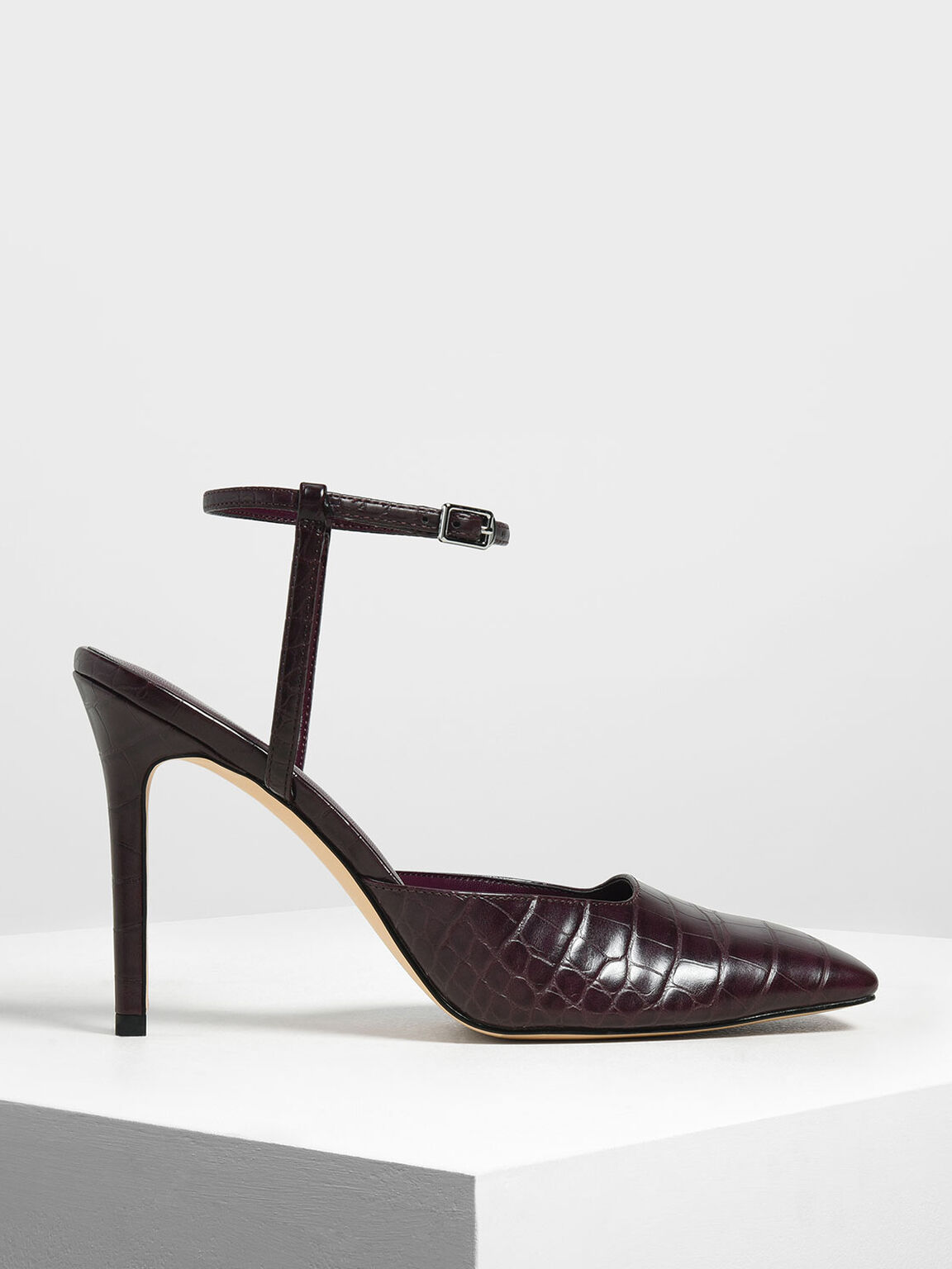 Square Toe Croc-Effect Stiletto Pumps, Prune, hi-res