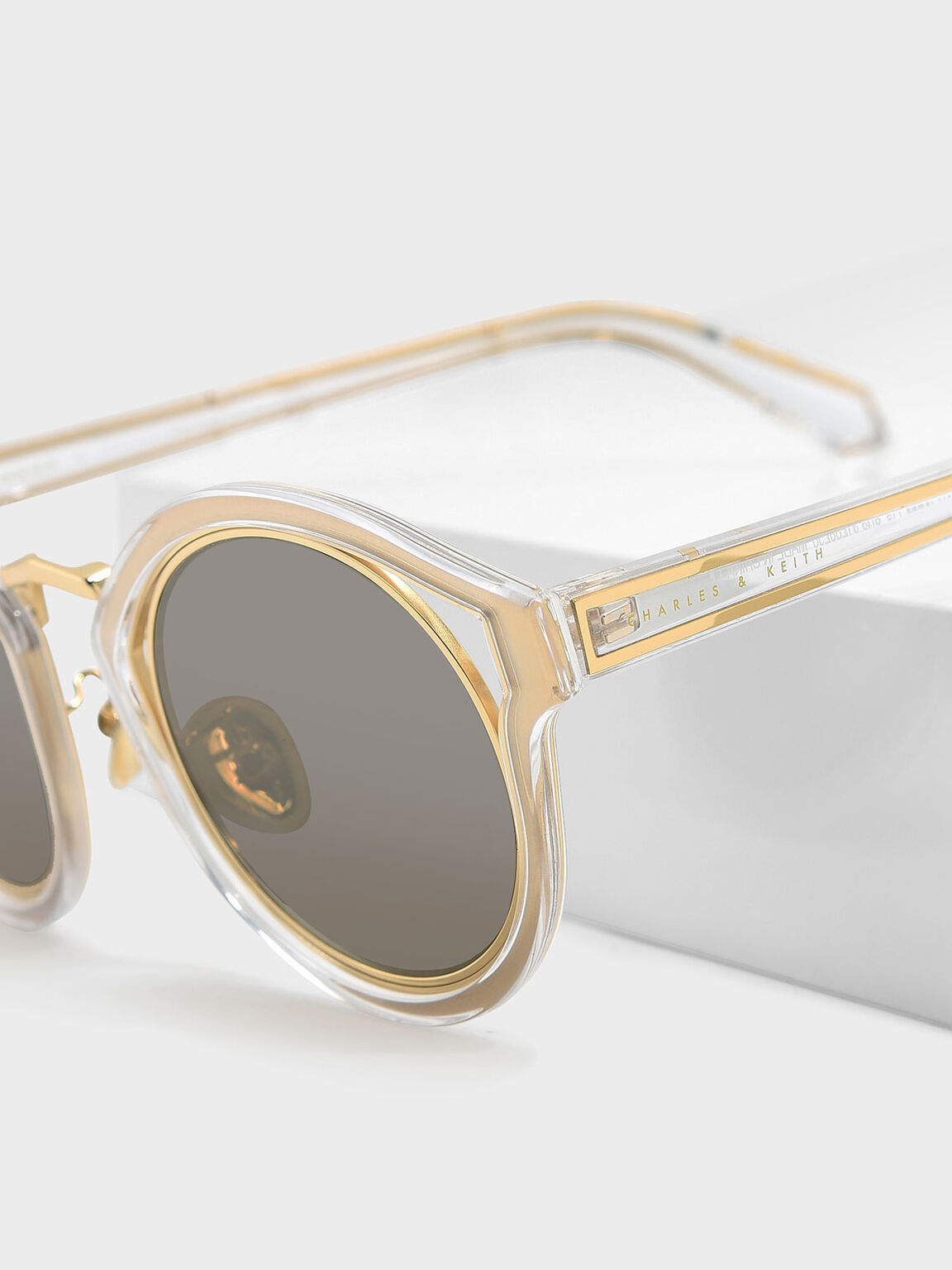 貓眼框墨鏡, 白色, hi-res