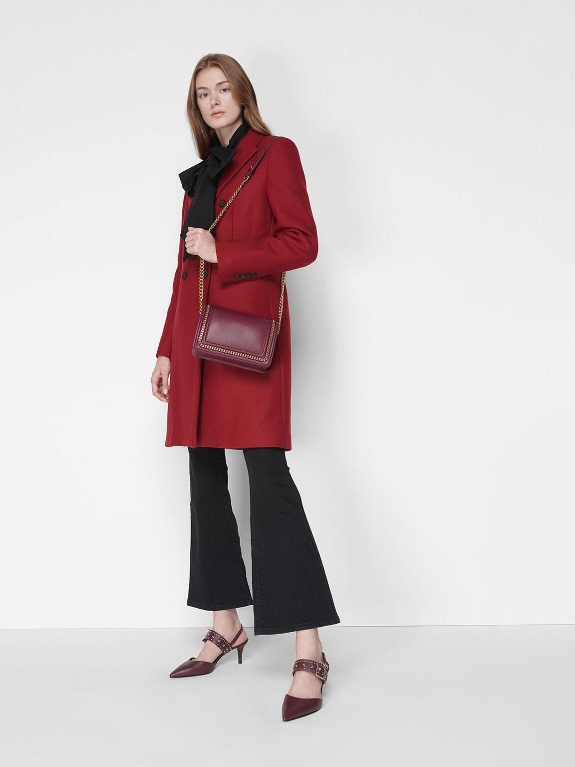 Studded Slingback Heels, Burgundy, hi-res
