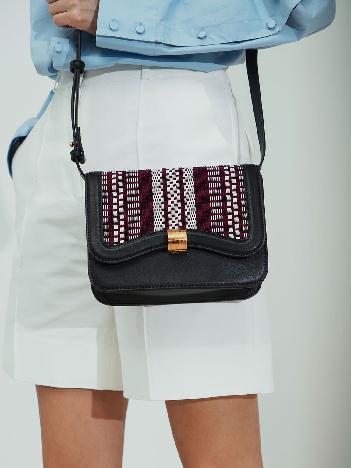 Woven Crossbody Bag, Black, hi-res